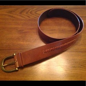 Chaps Leather Belt with Brass tone Buckle